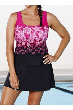 CHLORINE RESISTANT PINK EXPLODED FLORAL SPORT TANKINI WITH SKIRT