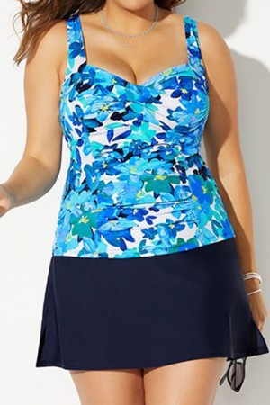 BELLFLOWER RUCHED TWIST FRONT TANKINI WITH NAVY SIDE SLIT SKIRT