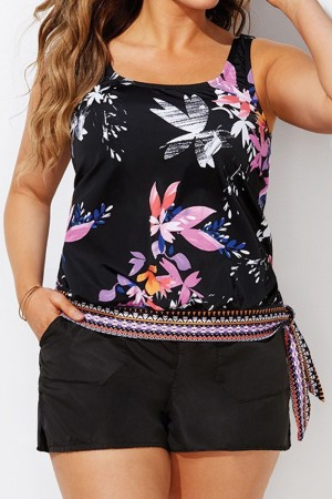 WINDFLOWER SIDE TIE BLOUSON TANKINI WITH CARGO SHORT
