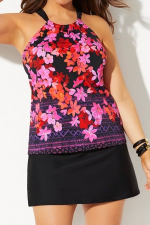 PRIMROSE HIGH NECK TANKINI WITH SIDE SLIT SKIRT